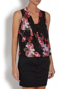 Top croisé sans manches noir imprimé fleurs rouges Morgan - ClicknDress