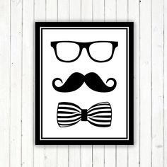 Printable wall art - geekery printable - hipster printable - moustache printable - black and white modern printable poster -INSTANT DOWNLOAD...