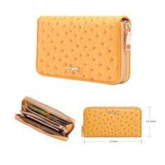 Amazon.com: Aitbags Women Soft Ostrich Grain Leather Wallet Zippered Arround Clutch Purse: Clothing