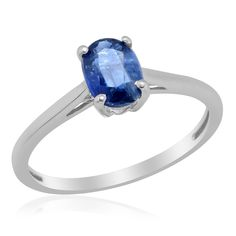 Liquidation Channel: Himalayan Kyanite Solitaire Ring in Platinum Overlay Sterling Silver (Nickel Free)