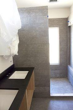 Modern tiled shower.