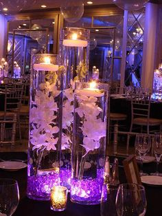 Diy Wedding Flowers Purple Floating Candles 15 New Ideas Floating Candle Centerpieces, Orchid Centerpieces, Wedding Table Centerpieces, Vases Decor, Sweet 16 Centerpieces, Purple Centerpiece Wedding, Centerpiece Ideas, Christmas Centerpieces, Graduation Centerpiece