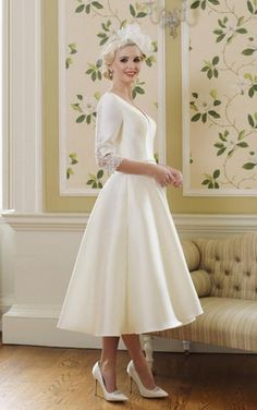 FRIEDA, beautiful vintage-inspired Mikado wedding gown with sleeves, beautiful lace back detail gives it the real WOW factor! Belle Wedding Dresses, Wedding Gowns With Sleeves, Tea Length Wedding Dress, Tea Length Dresses, Wedding Dresses Plus Size, Bridal Dresses, Dresses Uk, Short Dresses, Dresses Elegant