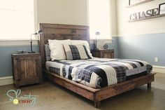 Restoration Hardware and Pottery Barn inspired bedroom - DIY via Ana White plans. Home Office Furniture, Furniture Plans, Bedroom Furniture, Diy Furniture, White Furniture, Industrial Furniture, Furniture Projects, Wood Projects, Nightstand Plans
