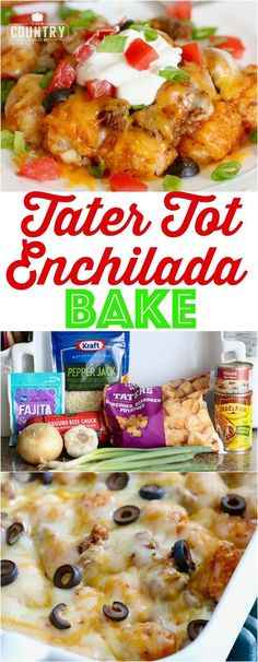This Tater Tot Enchilada Bake is a family favorite! It is not spicy hot but it tastes like a tater tot taco. I could eat this every night of the week! Tater Tot Enchilada Bake - Tater Tot Enchilada Bake recipe from The Country Cook Baked Breakfast Recipes, Breakfast Bake, Tater Tot Recipes, Casserole Recipes, Tator Tot Casserole Recipe, Chicken Casserole, Potato Recipes, Casserole Dishes, Tex Mex