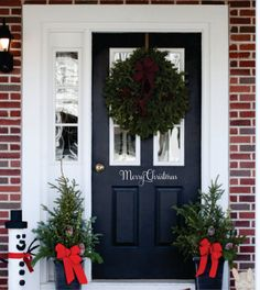 Merry Christmas Decal -Christmas Decor Vinyl Decal for your Front Door -Merry Christmas Vinyl Lettering Entry Way or Porch Decal on Etsy, $5.00