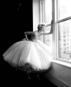 This picture captures the elegance and apprehensiveness of a ballerina