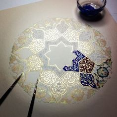 Painting a mandala Mandala Art, Mandala Design, Islamic Patterns, Art Patterns, Islamic Designs, Zentangle Patterns, Zentangles, Drawn Art, Islamic Art
