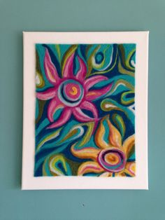 Excited to share thi Excited to share this item from my shop: This one of a kind needlefelted artwork is now in the sale! Flower Canvas Art, Abstract Flower Art, Abstract Canvas, Flower Sketch Pencil, Art Therapy Projects, Felt Art, Flower Pictures, Felt Flowers, Colorful Decor