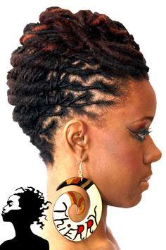 Natural hair - locks - locs - pretty twists - dreads - dreadlocks - up do - hair styles - Natural Hair Care, Natural Hair Styles, Curly Hair Styles, Au Natural, Natural Mohawk, Dreadlock Hairstyles, African Hairstyles, Loc Updo, Hair Updo