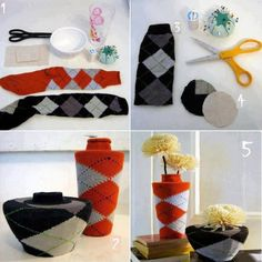 Old socks to vases Home DIY Ideas I love socks so this is perfect! Lol