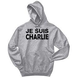 Comical Shirt Men's Je Suis Charlie I Am Charlie Shirt Hooded Sport Grey XL