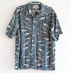 Columbia-Brand-Shirt-with-Fish-Pattern-Outdoor-Mens-L-80-Rayon-20-Flax