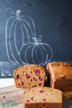 The perfect Cranberry Pumpkin bread for fall.  Full of lots of tart, juicy cranberries that contrast beautifully with the soft, sweet pumpkin bread.