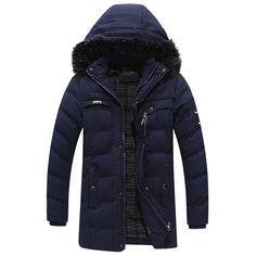 Mens Mid-long Winter Warm Thick Hooded Parka jaqueta