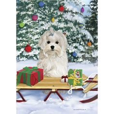 Absolutely Adorable! No Longer Available as of 2014 Maltese Snowy Day Maltese Christmas Cards - The Danbury Mint