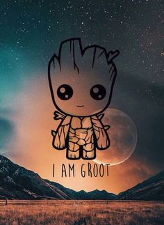 Cute iPhone wallpaper_I'm Groot Cute Wallpaper Backgrounds, Cute Cartoon Wallpapers, Wallpaper Iphone Cute, Galaxy Wallpaper, Wallpaper Wallpapers, Cute Disney Drawings, Cute Drawings, Disney Phone Wallpaper, Avengers Wallpaper