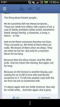 Couldn't have said this ANY better! I miss theatre so much!