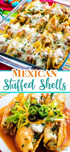 Mexican Stuffed Shells - An amazing twist on traditional Italian stuffed shells! Add all the makings of a ground beef taco filling and stuff jumbo pasta shells for an easy delicious anytime family meal! Mexican Stuffed Shells, Stuffed Shells Recipe, Stuffed Pasta Shells, Ground Beef Stuffed Shells, Italian Stuffed Shells, Stuffed Pasta Recipes, Jumbo Shells Stuffed, Healthy Stuffed Shells, Mexican Food Recipes