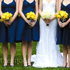 Navy Bridesmaid Dresses & Yellow Flowers @Rachel Gentry love this look!!!!