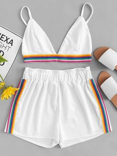 Shop Rainbow Stripe Tape Cami Top With Shorts online. SheIn offers Rainbow Stripe Tape Cami Top With Shorts & more to fit your fashionable needs. Teen Fashion Outfits, Outfits For Teens, Trendy Outfits, Cool Outfits, Girl Fashion, Summer Outfits, Cute Sleepwear, Vetement Fashion, Cute Pajamas
