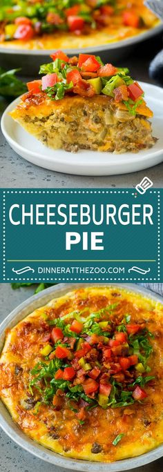 This cheeseburger pie is a combination of ground beef, cheese, bacon and seasonings, all baked together to golden brown perfection. Ground Beef Recipes Easy, Beef Recipes For Dinner, Cooking Recipes, Pie Recipes, Gourmet Recipes, Lamb Recipes, Savoury Recipes, Potato Recipes, Pasta Recipes