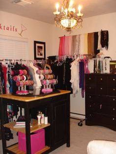 I love how she did this in a regular room with an island, dresser and some curtain rods!