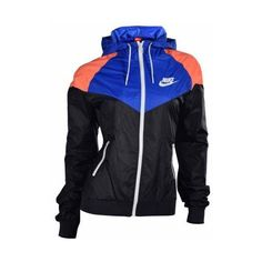 Nike Women's Windrunner Casual Zip Up Jacket-Black/Blue ($80) ❤ liked on Polyvore featuring jackets, hoodies, blue and nike