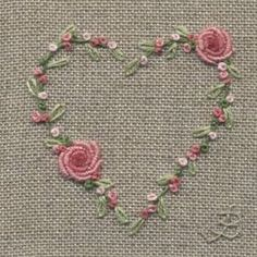 Wonderful Ribbon Embroidery Flowers by Hand Ideas. Enchanting Ribbon Embroidery Flowers by Hand Ideas. Bullion Embroidery, Embroidery Hearts, Embroidery Stitches Tutorial, Silk Ribbon Embroidery, Crewel Embroidery, Hand Embroidery Patterns, Embroidery Techniques, Cross Stitch Embroidery, Machine Embroidery