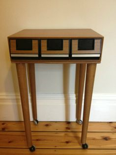 Upcycled Retro Cassette Bedside Table so clever, I see these at yard sales all the time!