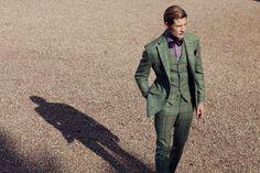 Green Plaid Suit w/Purple Shirt & Bow Tie