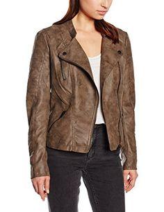 Only 15102997 - Blouson - Faux Cuir - Manches Longues - Femme - Gris  (Falcon) - FR  38 (Taille Fabricant  38) e762c6c2d79c