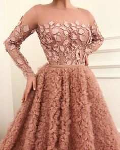 Details - Soft autumn pink color - Designed tulle fabric - Handmade embroidery pink flowers on top of the dress,pink velvet belt - Ball-gown dress with waist definition - Party/evenings/special occasions Grad Dresses, Ball Gown Dresses, Dance Dresses, Dress Outfits, Fashion Dresses, Elegant Dresses, Pretty Dresses, Formal Dresses, Beautiful Gowns