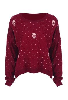 Romwe Women's Skull and Dots Printed Cardigan-Wine Red-One Size Wine red women jumper. Round neckline and long sleeves. White skulls and dots printed. Oversize style. 30 degree machine wash,do not bleach or tumble dry,low iron..  #Romwe #Apparel