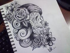 Sugar Skull Tattoo Design - Sketch by AttractDesign.deviantart.com on @deviantART