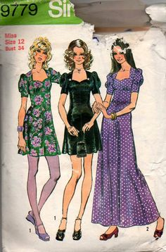 Simplicity 9779 Womens Maxi Dress or Maxi Puff Sleeves Sweetheart Neckline 70s Vintage Sewing Pattern Size 12 Bust 34 inches