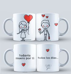 Templetes for Mugs COUPLES for SUBLIMATION - Diseños para Parejas - Plantillas Tazas de parejas - Diseños sublimación Parejas - Sublimar #mottaplantillas Fun Valentines Day Ideas, Homemade Valentines, Valentine Day Gifts, Ideas Aniversario, Polymer Clay Cat, Letter Mugs, Sublimation Mugs, Couple Mugs, Cute Cups
