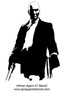 Hitman Stencil | Hitman Agent 47 Stencil Outline Version