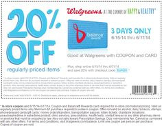 Pinned June 15th: 20% off at #Walgreens, or online via promo code SUN20 #coupon via The #Coupons App