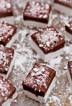 Chocolate dipped peppermint marshmallows.