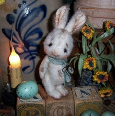 "Primitive  Bunny Rabbit 6"" Spring Doll Vtg Patti's Ratties Artist OOAK Bear"