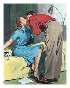 1952 illustration by Tran Mawicke (by totallymystified) Vintage Prints, Vintage Posters, Vintage Art, Romance Art, Vintage Romance, Pulp Fiction Art, Pulp Art, Vintage Couples, Vintage Drawing