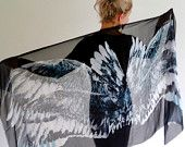 Wing scarf, Feather scarf shawl, Bohemian feather black, pure silk, wings scarf or Summer sarong, wrap. Gift for her. GIFT BOX included