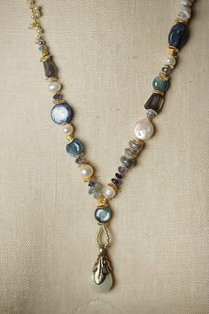 Unique Handmade Gemstone Chunky Pearl Dangle Necklace for Women | Anne Vaughan Handmade Designer Jewelry