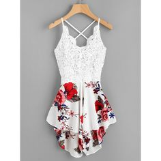 Crochet Lace Panel Bow Tie Back Florals Romper ($13) ❤ liked on Polyvore featuring jumpsuits, rompers, multicolor, white floral jumpsuit, white floral romper, white lace rompers, white romper jumpsuit and floral romper