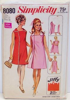 Vintage Simplicity Pattern 8080 womens Size 16 Wrap Around Three Armhole Dress 60s Mod Size 16 Bust 38 Waist 29 Hip 40  by Sassy By Design, via Flickr
