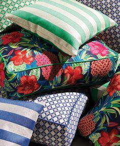 Outdoor cushions from the Osborne & Little SEA BREEZE collection