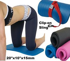 Yoga Exercise Workout Knee Pad Cushion wSling 15mm Thick Mat Black >>> Visit the image link more details.  This link participates in Amazon Service LLC Associates Program, a program designed to let participant earn advertising fees by advertising and linking to Amazon.com.