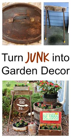 Vintage garden junk and wax begonias 15 diy garden decor ideas that are the cutest! Diy Vintage, Vintage Garden Decor, Vintage Gardening, Diy Garden Decor, Organic Gardening, Gardening Tips, Outdoor Garden Decor, Vegetable Gardening, Garden Junk
