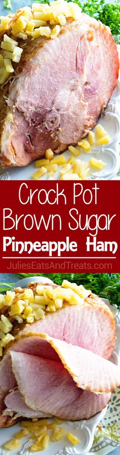 Crock Pot Brown Sugar Pineapple Ham ~ Savory Ham with a Brown Sugar Glaze and Pineapple Slow Cooked and Waiting for You When You Get Home! ~ http://www.julieseatsandtreats.com